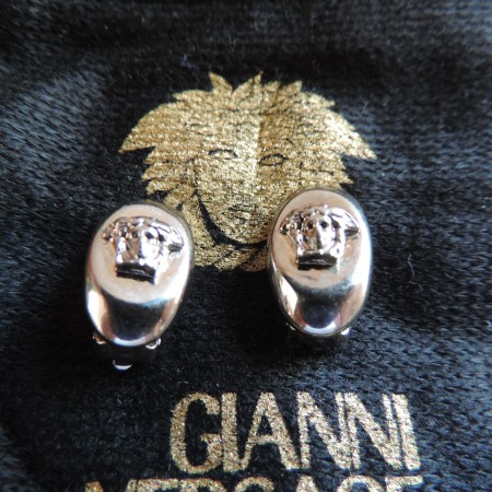 Gianni Versace Oval White Metal W/white Medusa Heads On Each Clip Earring NEW