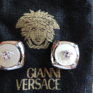 Gianni Versace White Metal W/ White Metal Medusa Heads On Mother Of Pearl Clip Earrings NEW