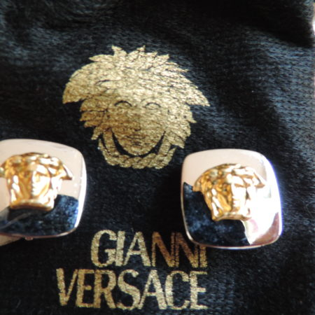 Gianni Versace Square White Metal W/gold Medusa Heads On Each Clip Earrings NWT