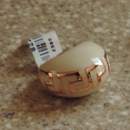 Versace White Enamel & Rose Gold Dome Ring NWT Size 6 3/4″