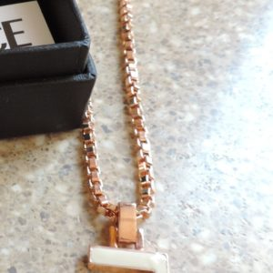 Versace White Enamel Greek Key Pendant & Rose Gold 18″ Chain NWT