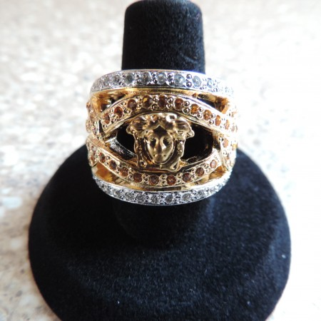 Versace 2 Tone Metal Ring — Yellow Stones NEW Size 7 3/4″