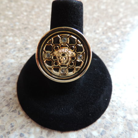 Versace Yellow Metal W/stones Round Ring NEW Size 6 3/4″