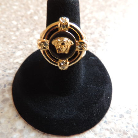 Versace Yellow Metal Round Ring NWT Size 6