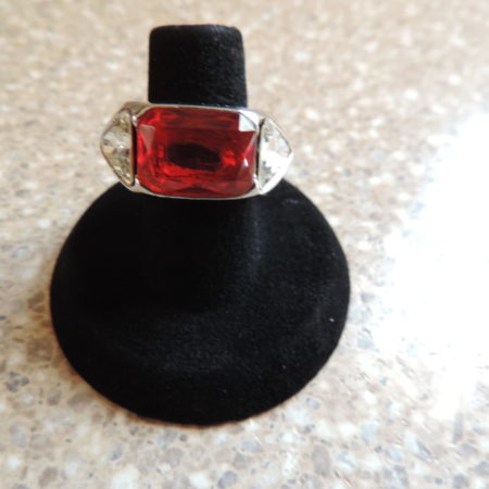 Versace White Metal Ring — Red Emerald Cut Stone In Center, 1 White Trillion Stone Ea. Side NEW Size 5 3/4″