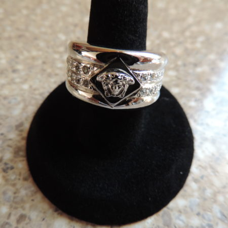 Versace White Metal Ring –white Stones NEW Size 6 3/4″