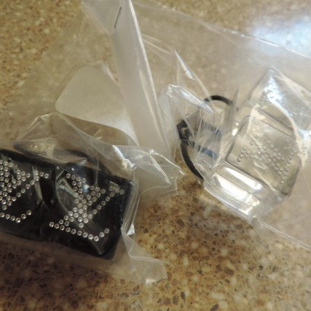 "Louis Vuitton ""LV"" Black & Clear Hair Cubes NWR ""LV""  On Both Is In Swarovski Crystals"