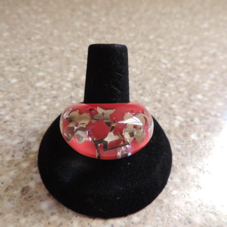 """Louis Vuitton """"Pomme"""" Resin Inclusion Ring NWR Size 56 (7)  RARE"""