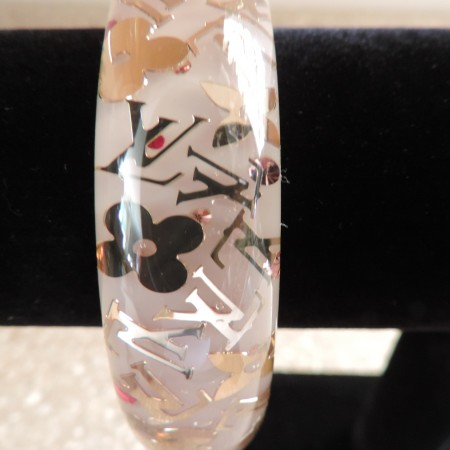 "Louis Vuitton ""Pink"" Resin Inclusion Bangle Large NWR"