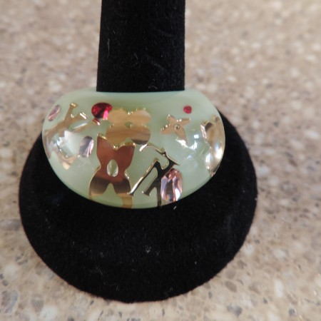 """Louis Vuitton """"Mint"""" Resin Inclusion Ring NWR Size 56 (7)"""