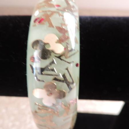 """Louis Vuitton """"Mint"""" Resin Inclusion Large Bangle NEW"""