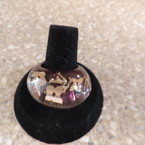 "Louis Vuitton ""Amarante"" Resin Inclusion Ring NWR Size 56 (7)"