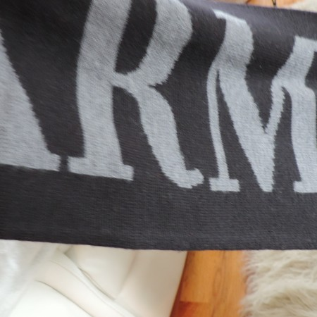 Armani Exchange Black Scarf White Writing 100% Wool Approx. 66″ Long