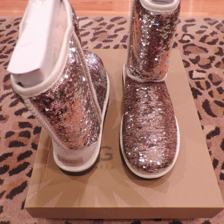 Ugg Bronze/silver Sequin Sheepskin Boots NWB Size 9