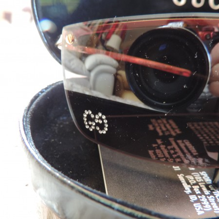 Gucci Sunglasses W/ Crystal Gg's On Lens W/case NWT