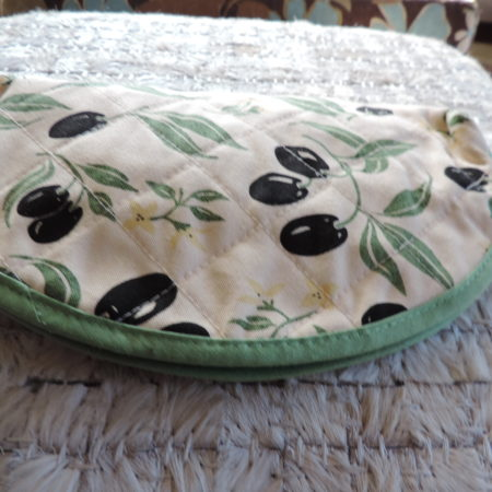 Black Olive Pattern Quilted Cosmetic Bag NEW