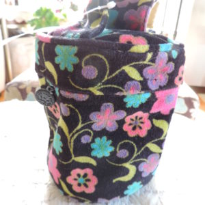 Black Floral Cotton Velveteen Cosmetic Bag NEW