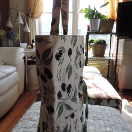 Black Olive Pattern Fabric Cosmetic Bag Large Drawstring  NEW