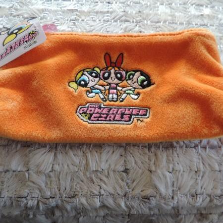 Power Puff Girls Faux Fur Orange Cosmetic Bag NEW
