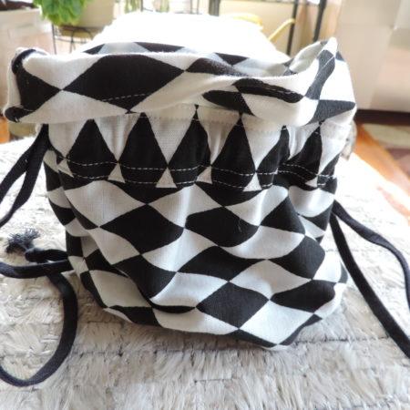 Black & White Harlequin Print Drawstring Bag NEW