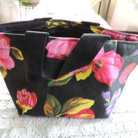 Adrienne Vittadini Black Floral Top Handle Bag  NEW