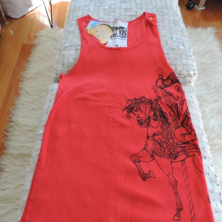 Harajuku Lovers Long Ribbed  Tank  Top Red With Designs Front & Back Size XL NEW