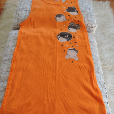 Harajuku Lovers Long Ribbed  Tank  Top Orange With Designs Front & Back Size XL NEW