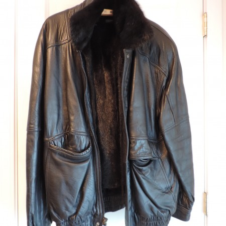 J.G. Hook Leather Bomber Jacket Zips Up  & Snaps  Up  W/removable Mink Lining Size M