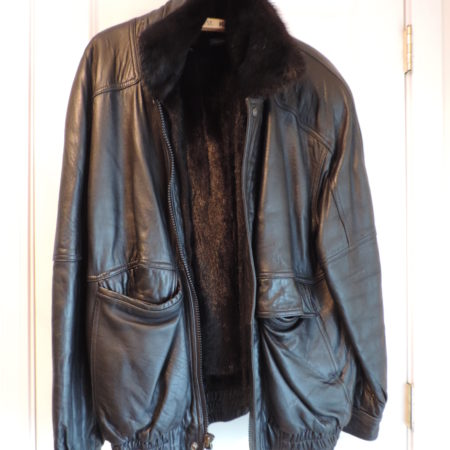 J.G. Hook Leather Bomber Jacket Zips Up  & Snaps  Up  W/removable Mink Lining Size M