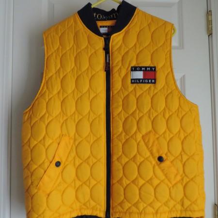 Tommy Hilfiger Yellow Nylon Vest Zip Up Size XL