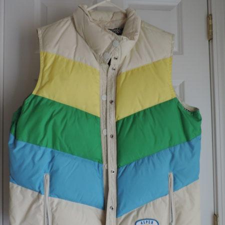 Old Navy Puffer Vest Yellow, Blue, Green, Cream Stripe W/snaps Size XXL