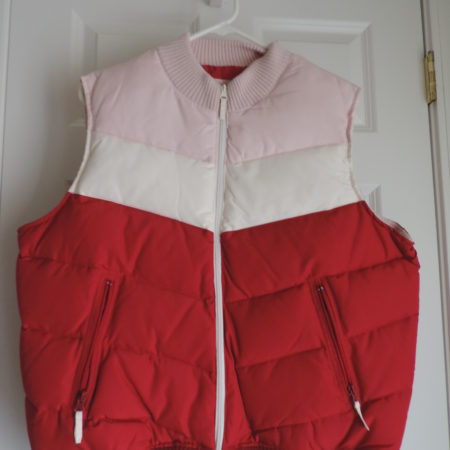 Route 66 Puffer Vest Pink, Red, Cream Stripe Zip Up Size XL