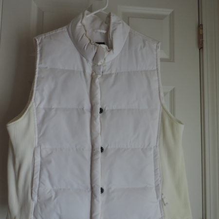 Gap White Vest Knit Side Inserts, Snaps & Zip Closure Size XL