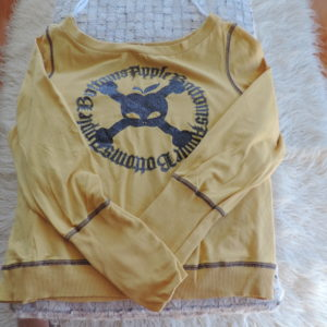Apple Bottoms Yellow&blue Long Sleeve T Shirt With Apple&skull Logo On Front Size 2X