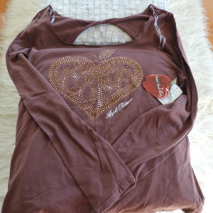 Apple Bottoms Brown Long Sleeve T Shirt W/apple Studded Logo On Front Size 1X NEW