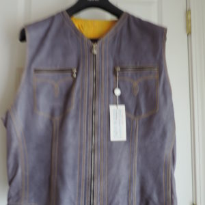 Versace Lavender Leather Vest Zip Up Size 56  (XXL) NWT