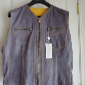 Versace Lavender Leather Vest Zip Up Size 56  (XXL) NWT