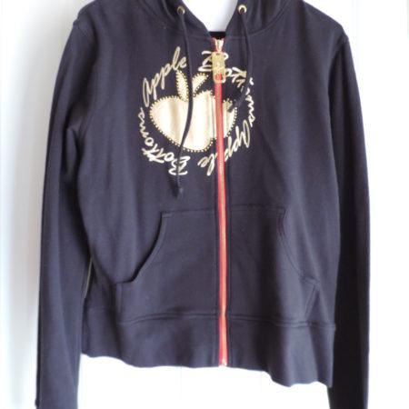 Apple Bottoms Black Zip Up Sweatshirt Hoodie Gold Apple Logo Size 2X