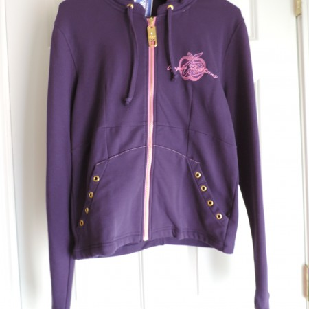 Apple Bottoms Purple Zip Up Sweatshirt Hoodie, Open Back Size L