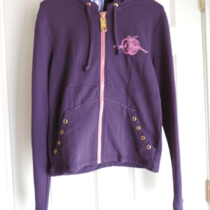 Apple Bottoms Purple Zip Up Sweatshirt Hoodie, Open Back Size L