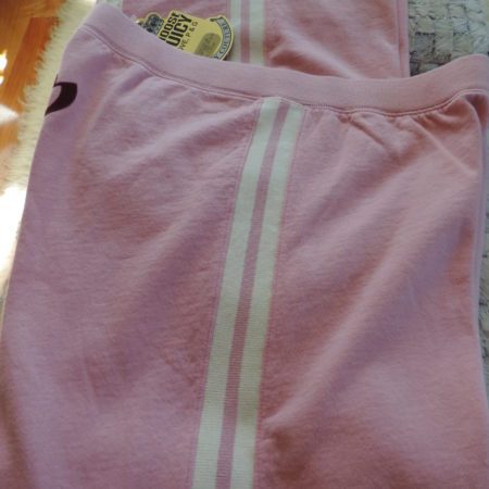 Juicy Couture Pink Pants Fleece Lined White Stripe Down Sides Size XL NEW