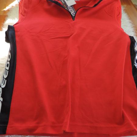 Speedo Red Shirt, Black & White On Sidew/logos, Half Zip Up Size XL  NEW