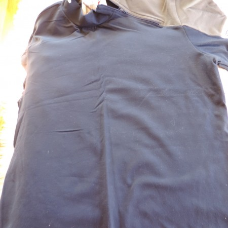 Speedo Short Sleeve Navy/gray Shirt, Logo On Sleeve Zip Up On Neck @ A Slant Size L NEW