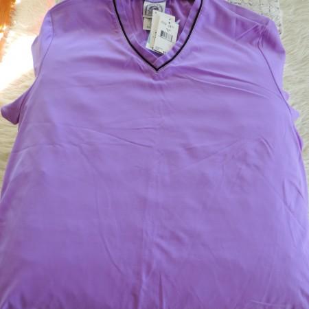 Speedo Short Sleeve Purple V Neck Shirt, Black Trim Also On V Neck Size XL NEW