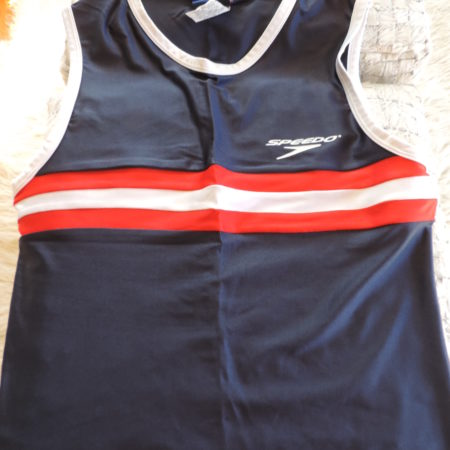 Speedo Navy Tank Top, W/ Red & White Stripe And Logo On The Front Size L
