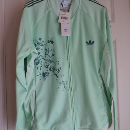"""Adidas """"Fafi"""" Supergirl Mint Green W/designs On Front Track Jacket Size XL NEW"""