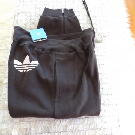 Adidas Black Cropped Pants Logo On Pants Size L NEW