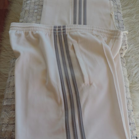 Adidas White W/ Gray Stripes Track Pants Zippers @ Bottom Of Legs Size L NEW