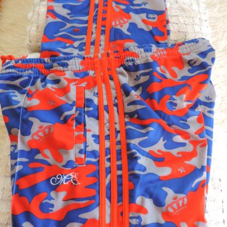 "Adidas ""Missy Elliot"" Camo W/blue Stripes Track Pants Zippers @ Bottom Of Legs Size XL"