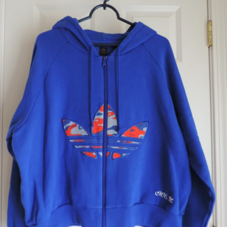 "Adidas ""Missy Elliot"" Blue Hoodie W/ Camo Trefoil Logo On Front Size 2XL"